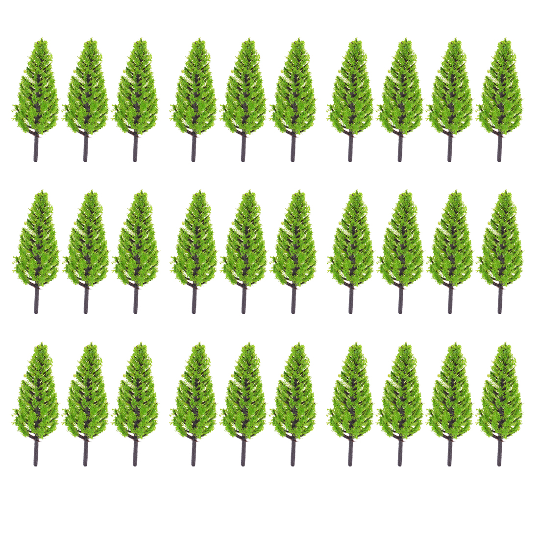 30 Pcs Light Green Plastic Pagoda Model Trees Layout Scene 7.5cm High Scale 1:200