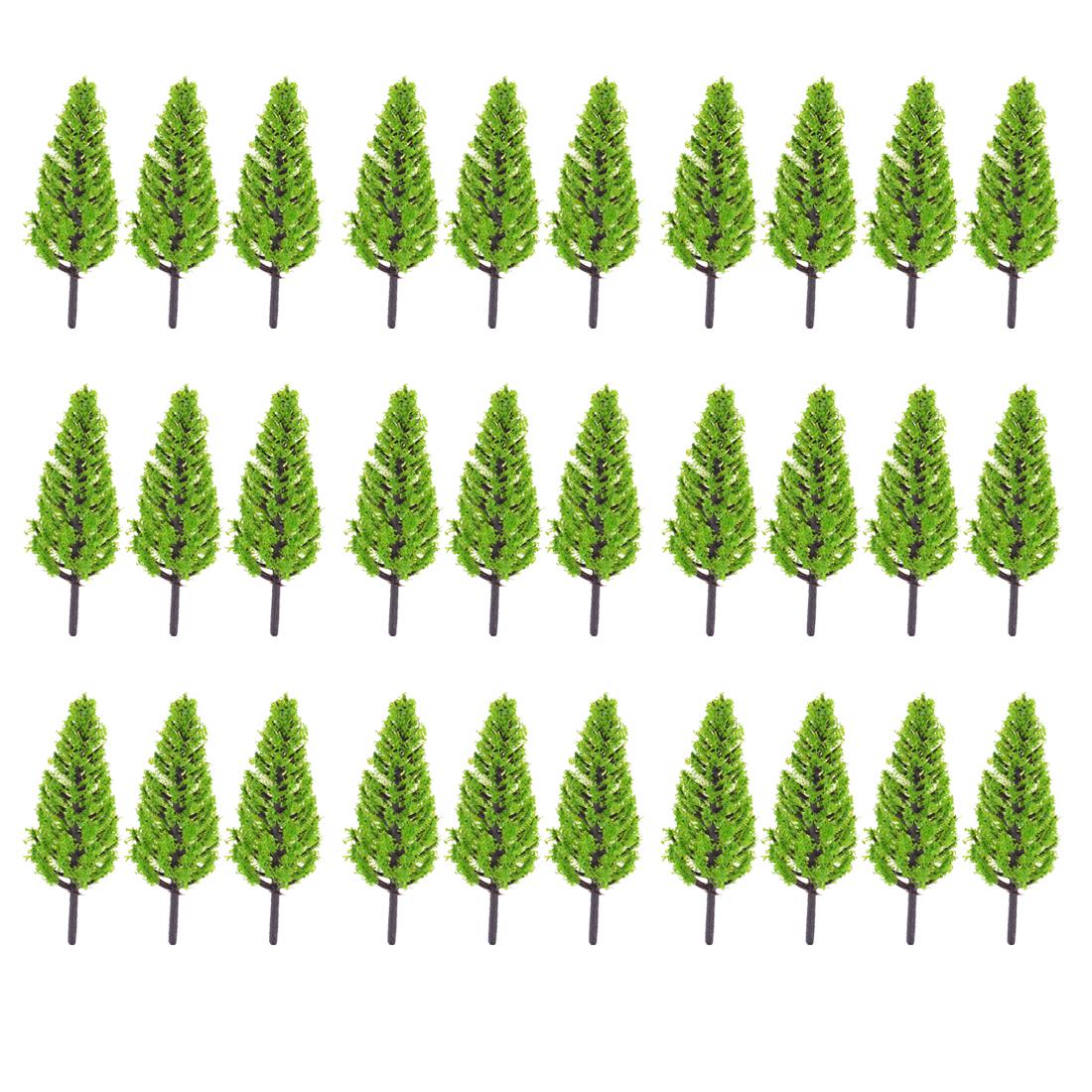 30 Pcs Light Green Plastic Pagoda Model Trees Layout Scene 7.5cm High Scale 1:200