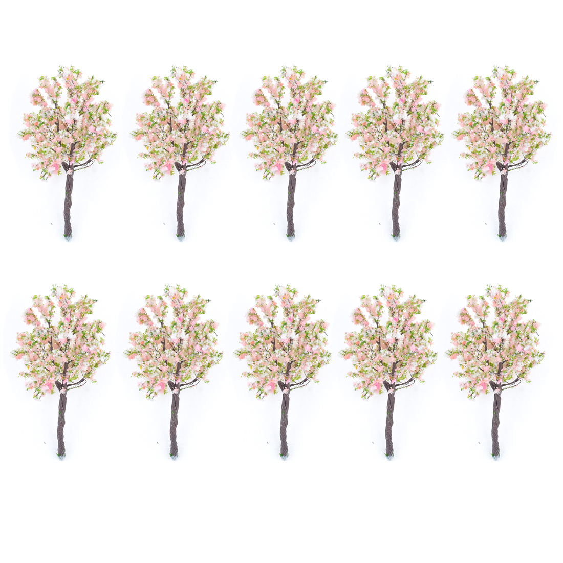 "10 Pcs Pink Green White Plastic Flower Trees Layout Scene 4.3"" High 1:75-100"