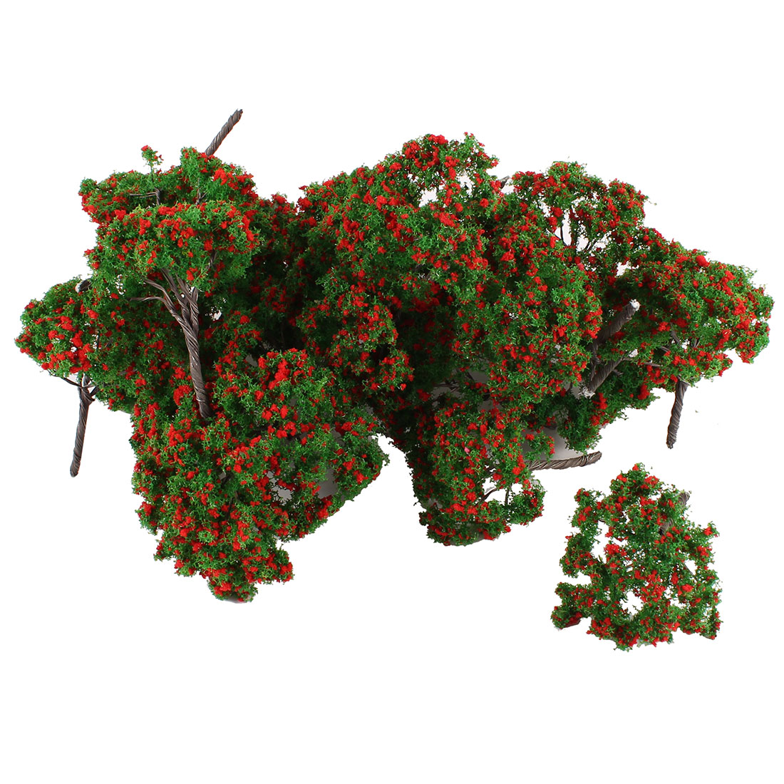 25Pcs Artificial Plastic Dark Green Leaf Red Flower Tree Ornamenet 6.5cm High