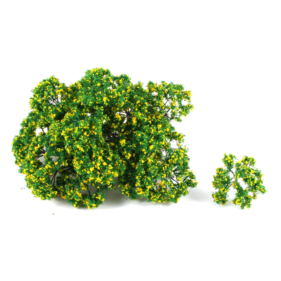 25Pcs Artificial Plastic Green Leaf Yellow Flower Tree 7cm High 1:100