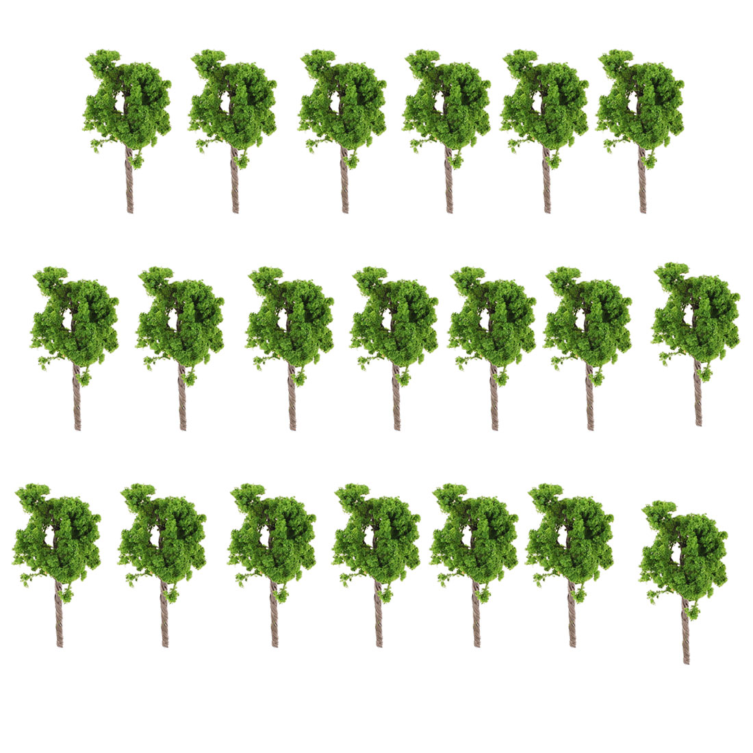 20 PCS Dark Green Plastic Model Tree Layout Scene 9cm Height Scale 1:100