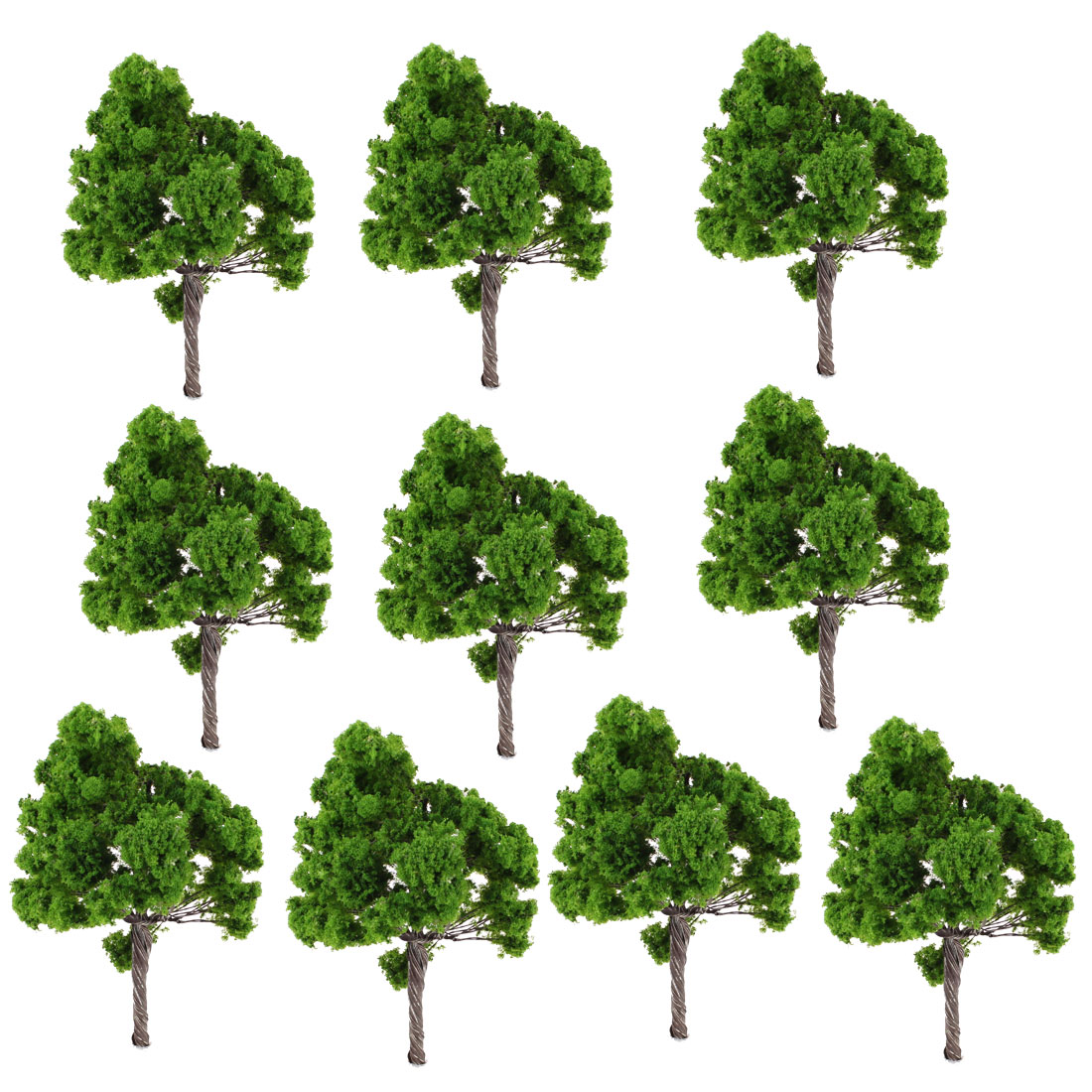 10 PCS 11cm Height Dark Green Plastic Model Tree Layout Scene Scale 1:75