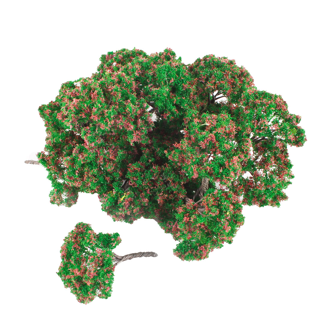 25 Pcs 7cm High Green Leaves Red Flower Model Tree Scale 1:100