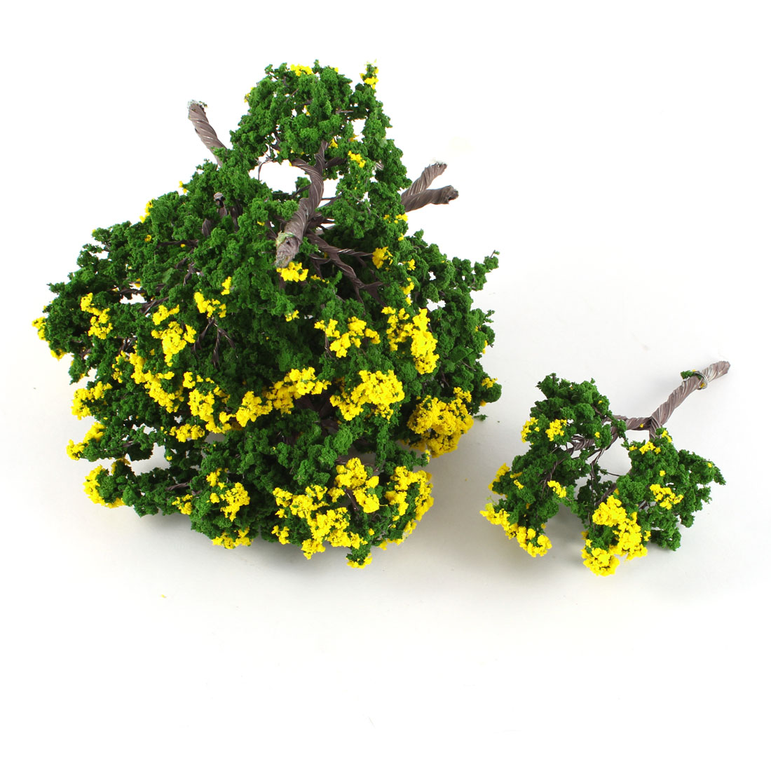 10 Pcs Dark Green Yellow Plastic Scale Model Tree Layout Scene 10cm High 1:100