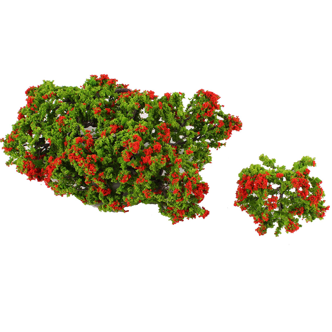 10Pcs Plastic Green Leaf Red Flower Tree Decoration 8.5cm Height 1:100