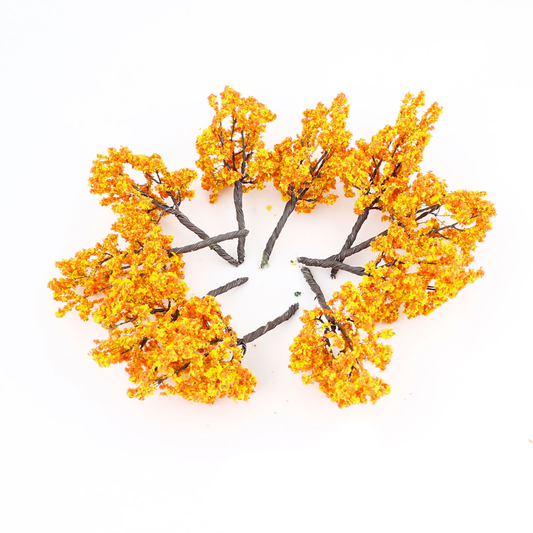10 Pcs Orange Yellow Scenery Model Flower Tree 11cm High Scale 1:75-100