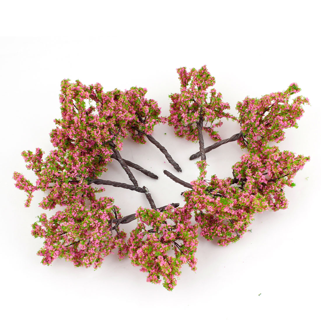 10 Pcs Pink Green Scenery Model Flower Tree 11cm High Scale 1:75-100