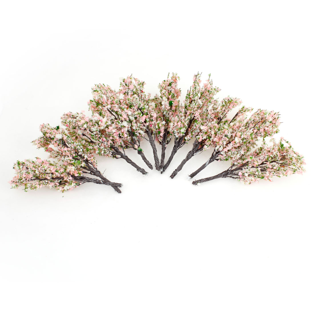 10 Pcs Light Pink White Scenery Model Flower Tree 11.5cm High Scale 1:100