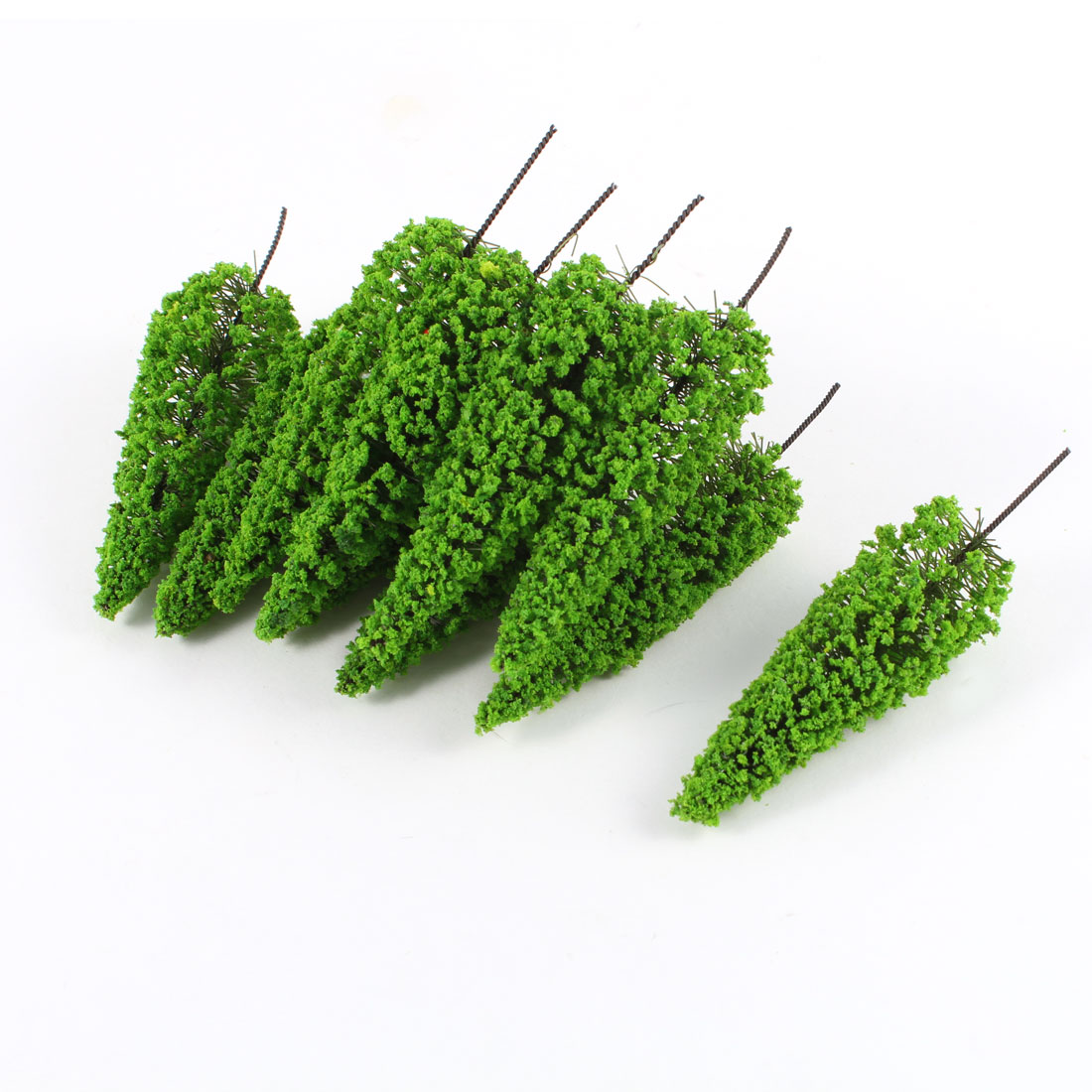 "10 Pcs Light Green Cedar Model Trees Layout Scene 3.9"" High 1:150"