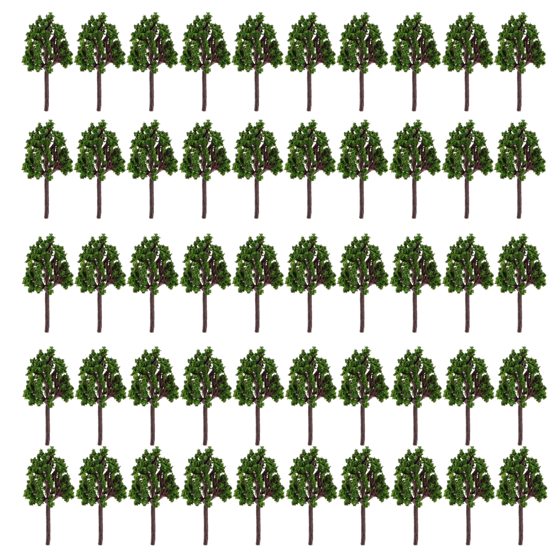"Green Model Trees Layout Scene 2.4"" High 1:200 50 Pcs"