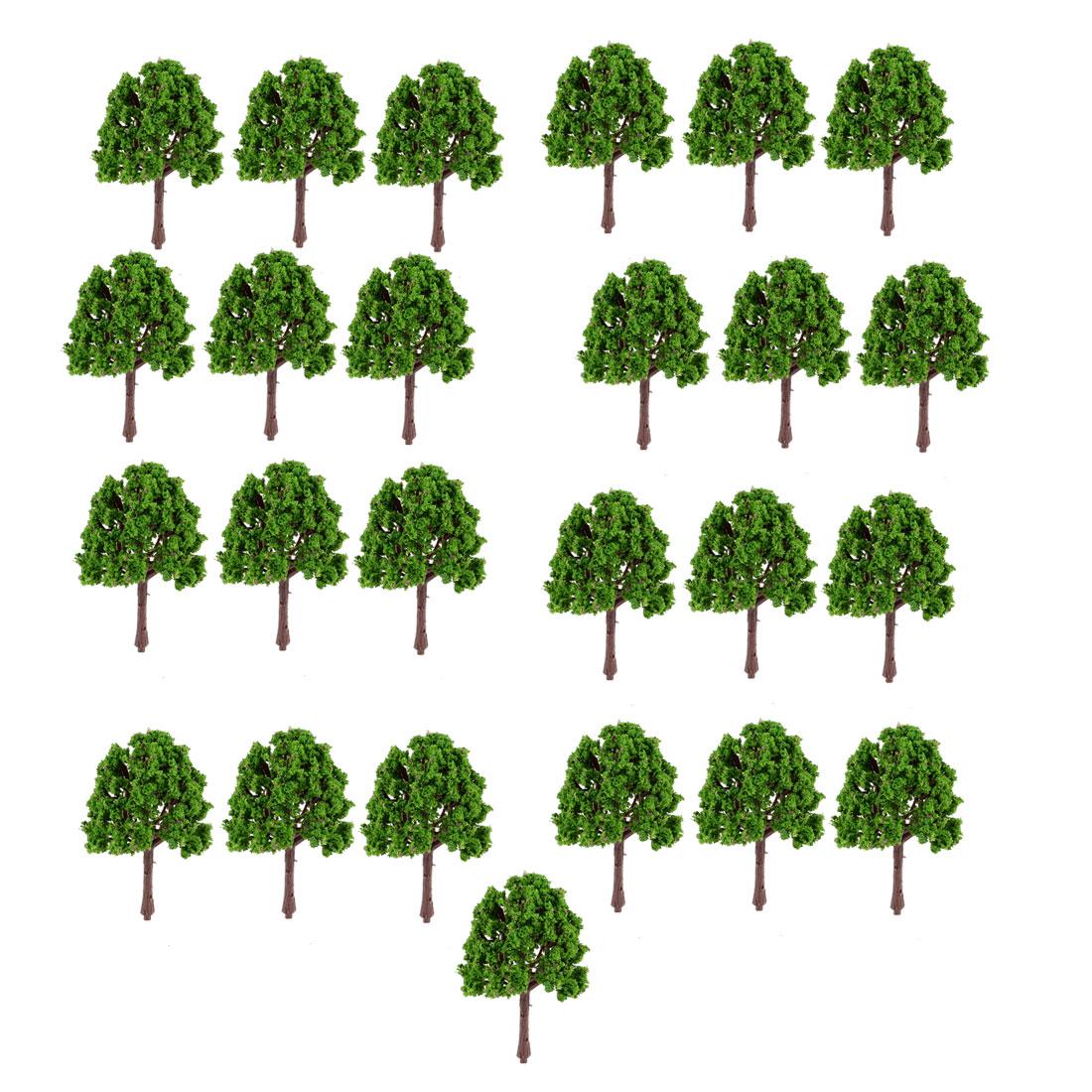 25 Pcs Ornamenet Artificial Plastic Green Leaves Tree 7.5cm High 1:150