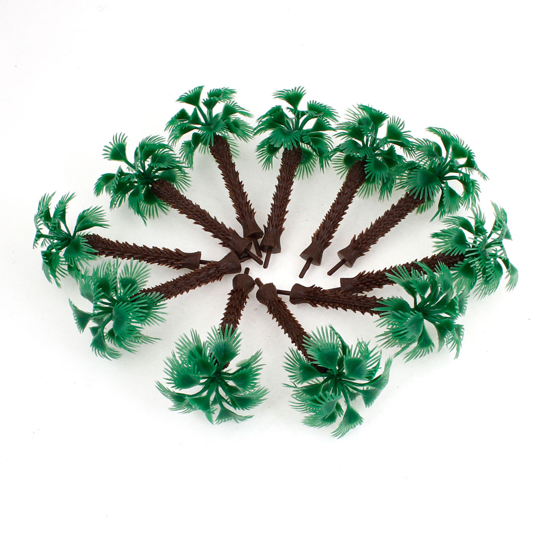9cm High Scale 1:100 Green Plastic Short Palm Model Tree 10 Pcs