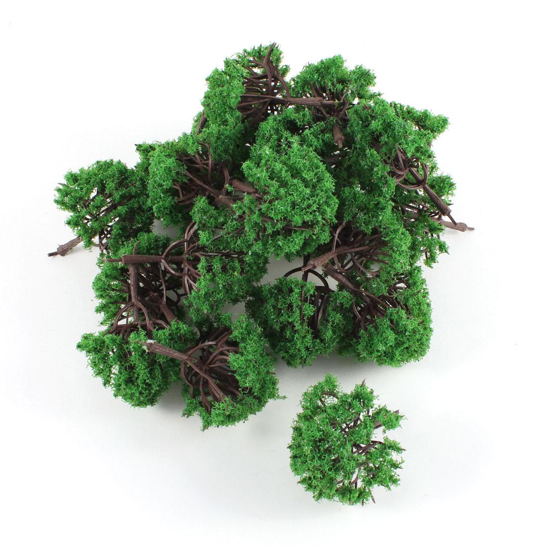 20 PCS 6.5cm Height Dark Green Plastic Model Tree Scale 1:100