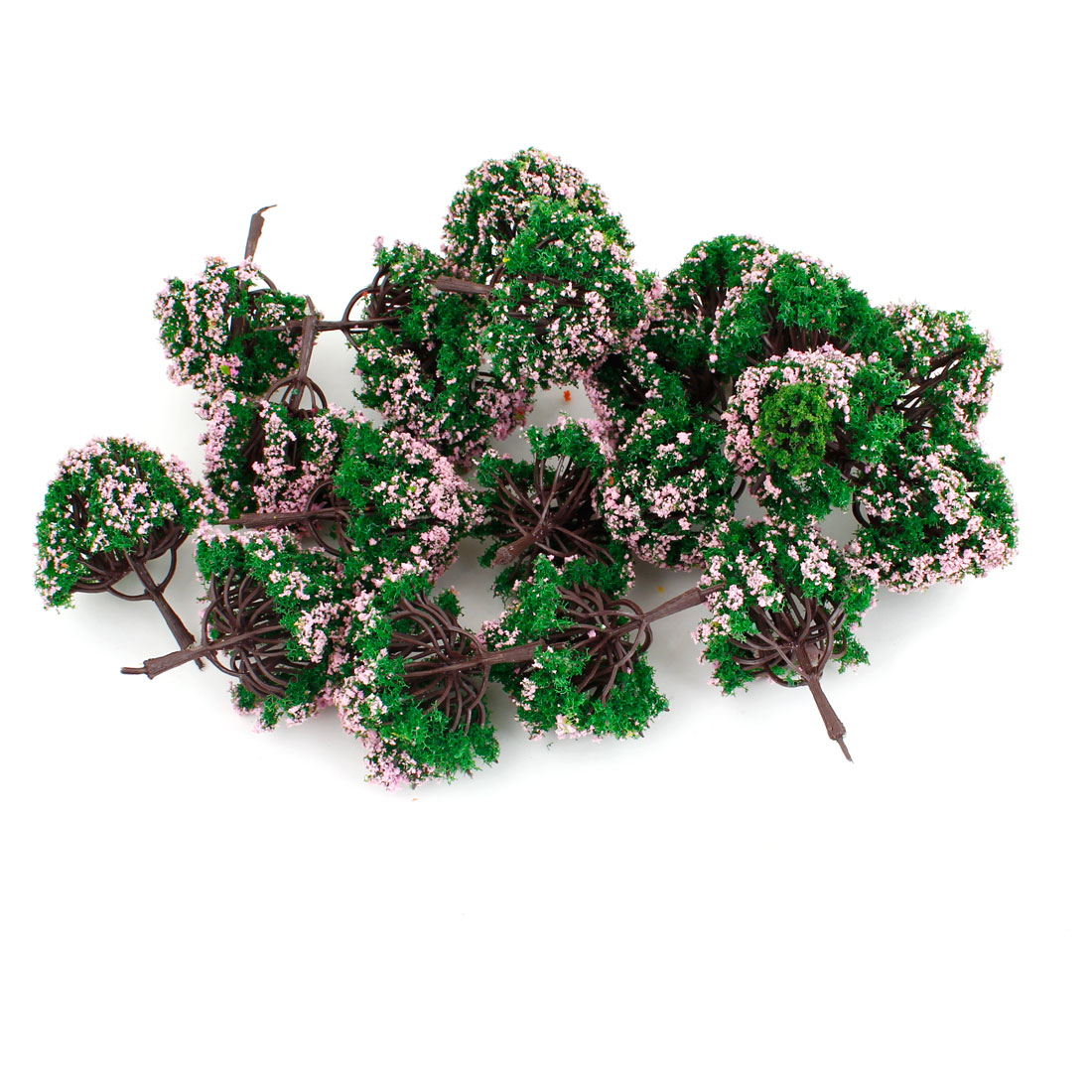 20 Pcs Simulation Pink Green Plastic Model Flower Tree 7cm High Scale 1:100
