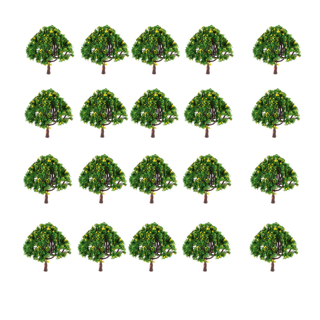 20Pcs 6.5cm High Green Leaves Yellow Flower Model Tree Layout Scene 1:100