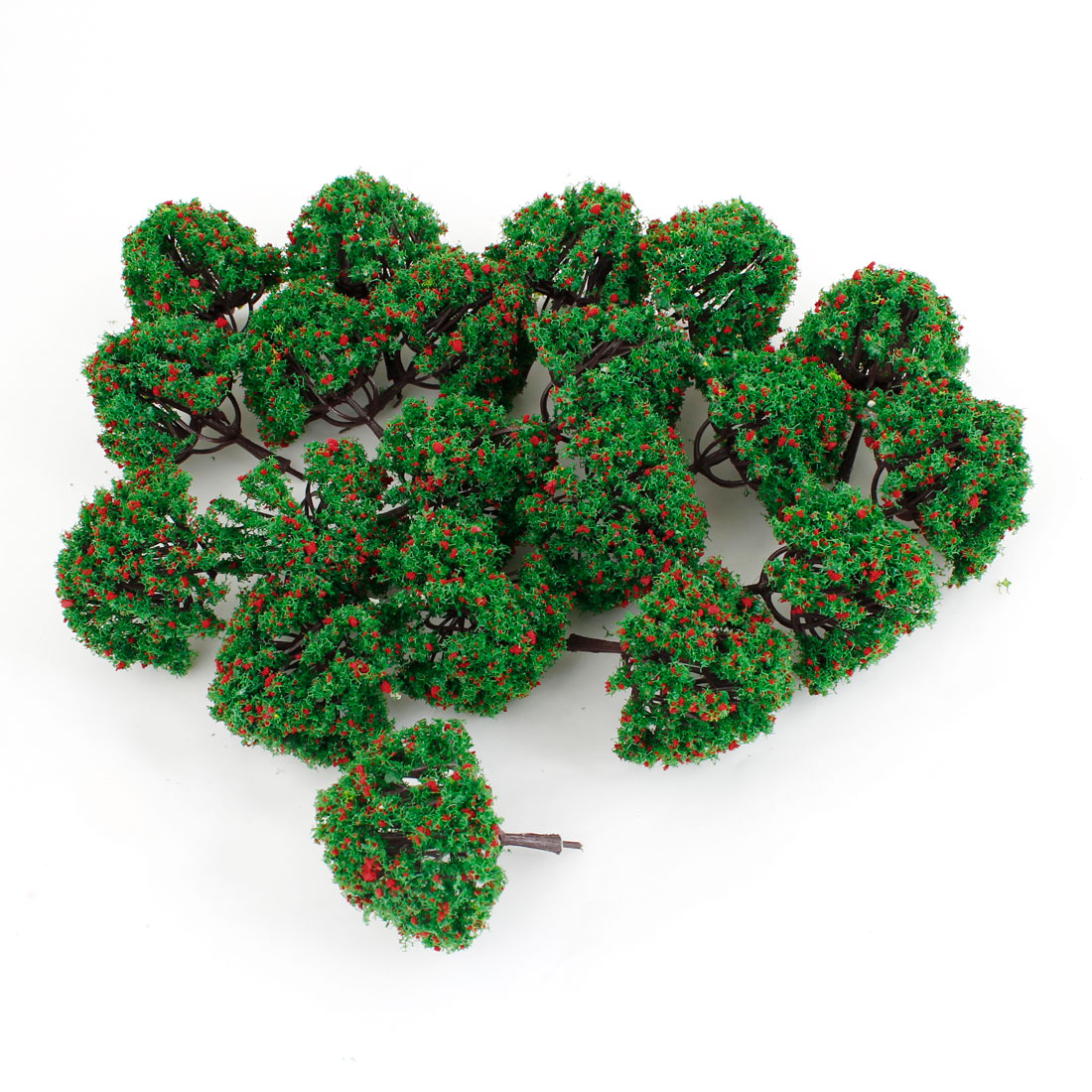 20 Pcs Red Green Plastic Model Flower Trees Decor 7cm High Scale 1:100