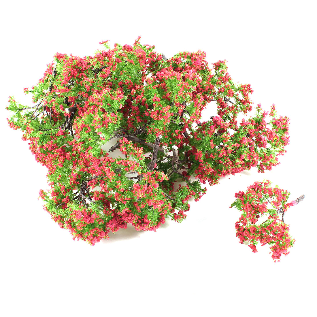 25Pcs Plastic Green Leaf Red Flower Tree Decoration 6.5cm Height 1:100
