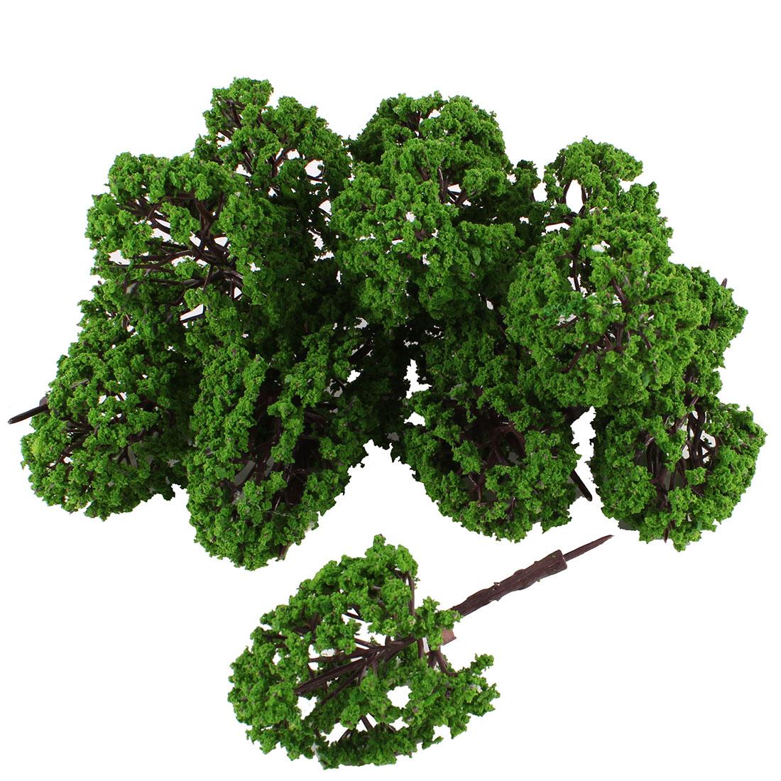 "10Pcs Artificial Plastic Green Leaf Model Tree 11cm 4.3"" High 1:75"