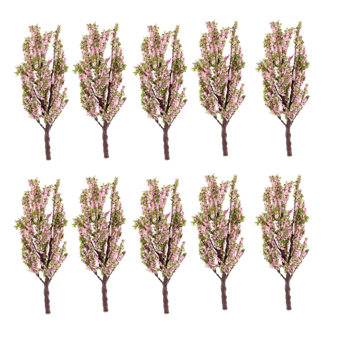 10Pcs Artificial Plastic Green Pink Leaves Tree 12cm High 1:100
