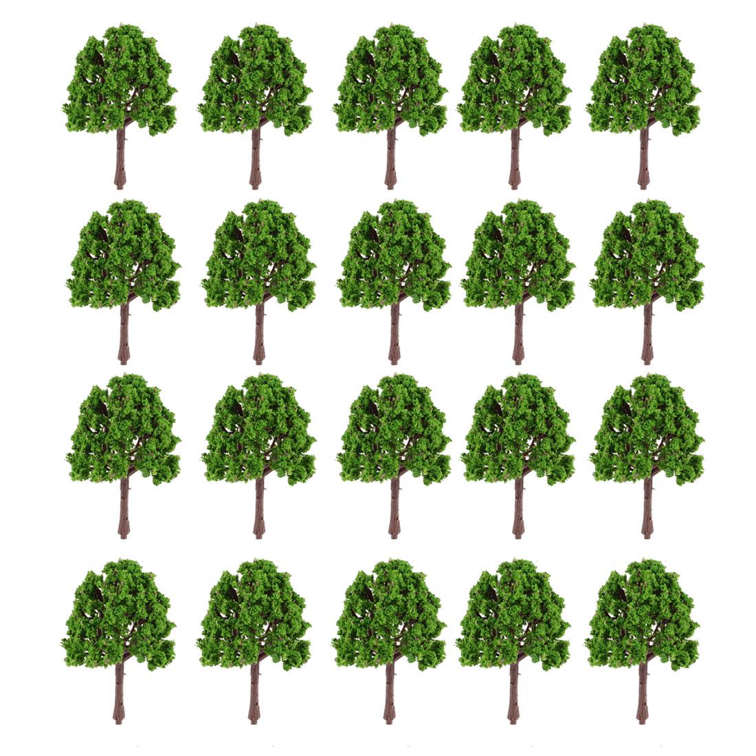 20Pcs Artificial Plastic Green Leaf Tree Decoration 7cm High 1:200