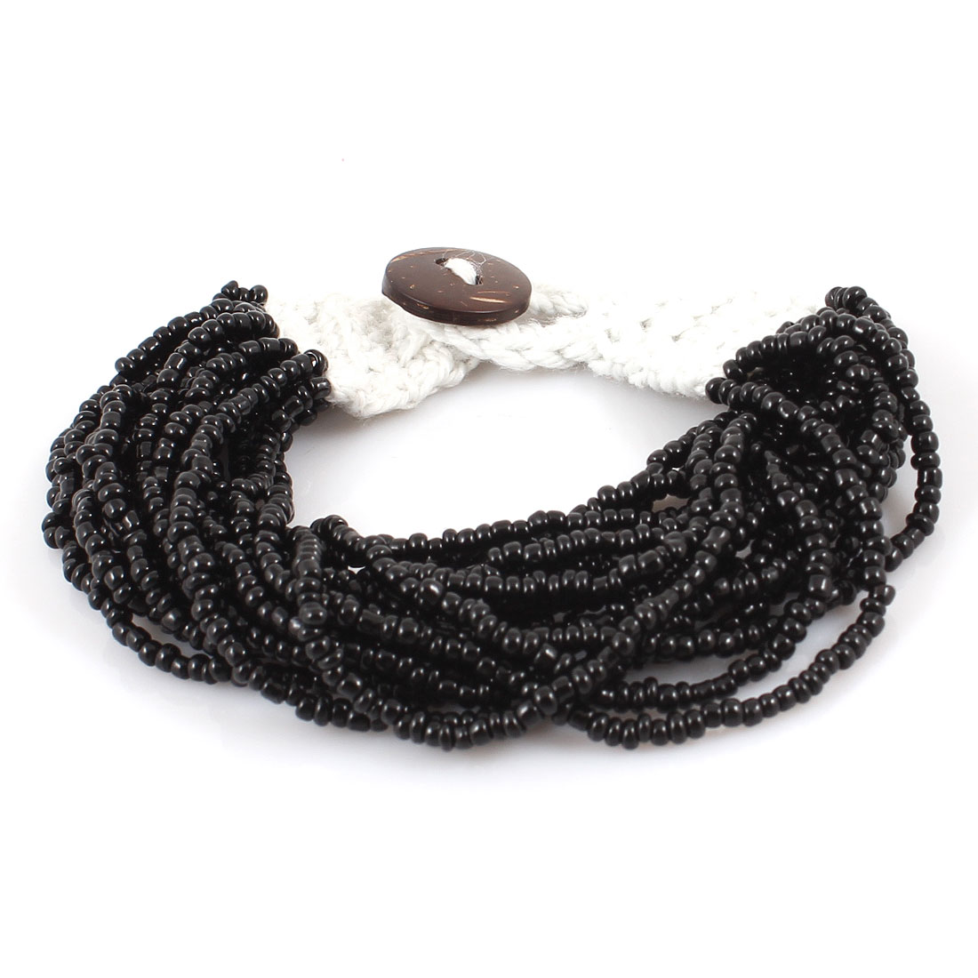 Multilayers String Braided Black Beads Button Closure Wrist Bracelet Bangle