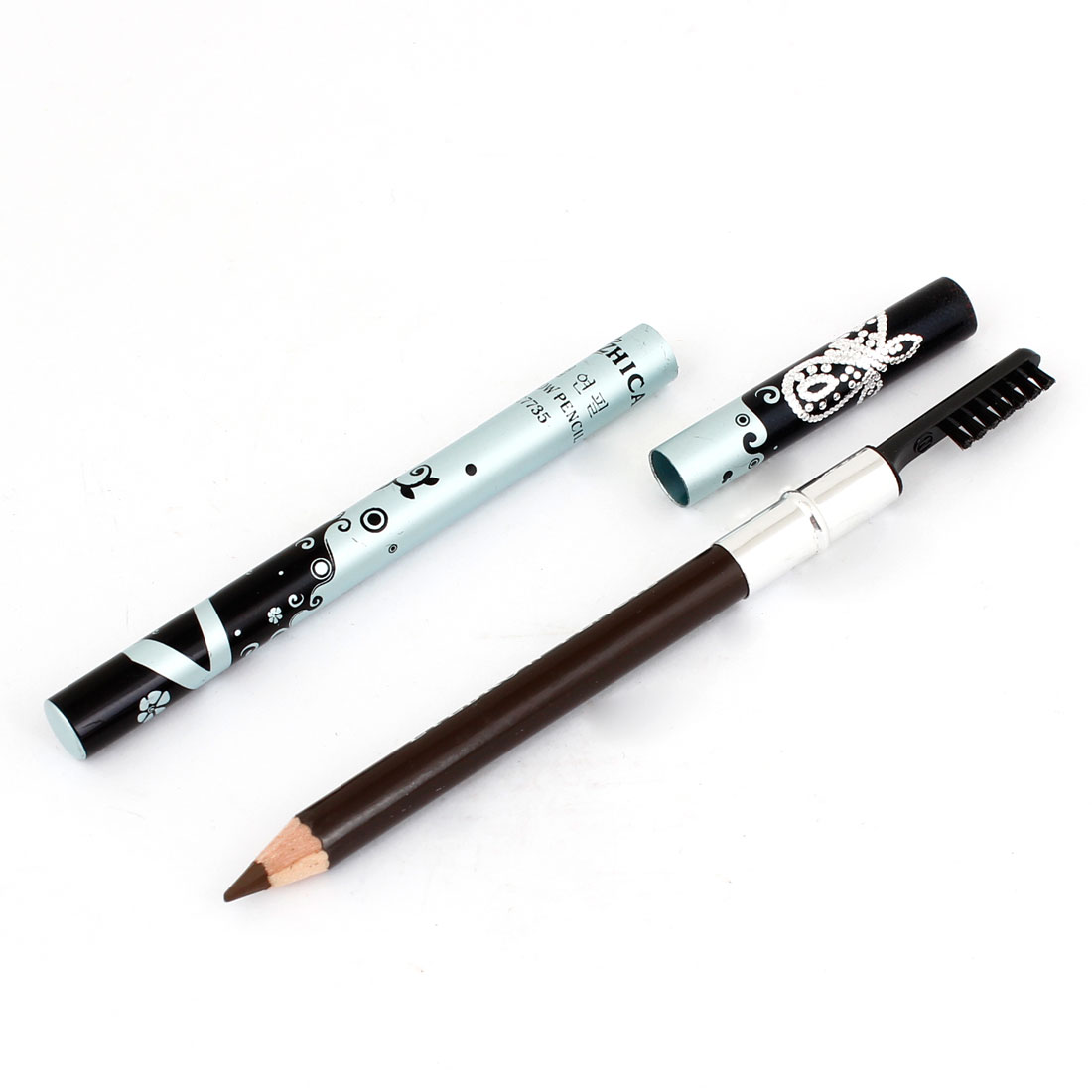 Black Swirl Flowers Pattern Eyebrow Pencil Brush 3#
