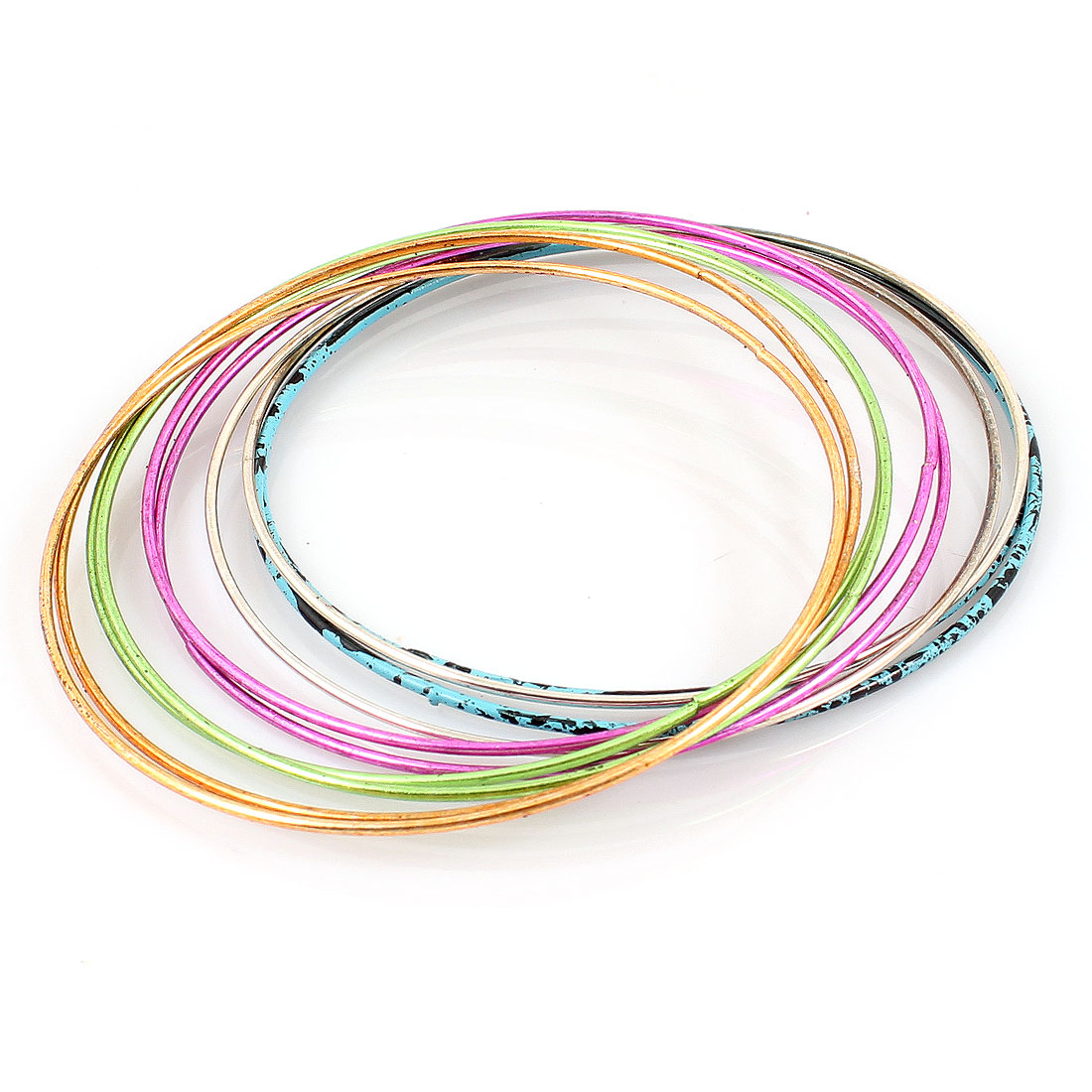 6.5cm Dia Lady Ornament Colored Metal Loop Wrist Bracelet Bangle 10pcs