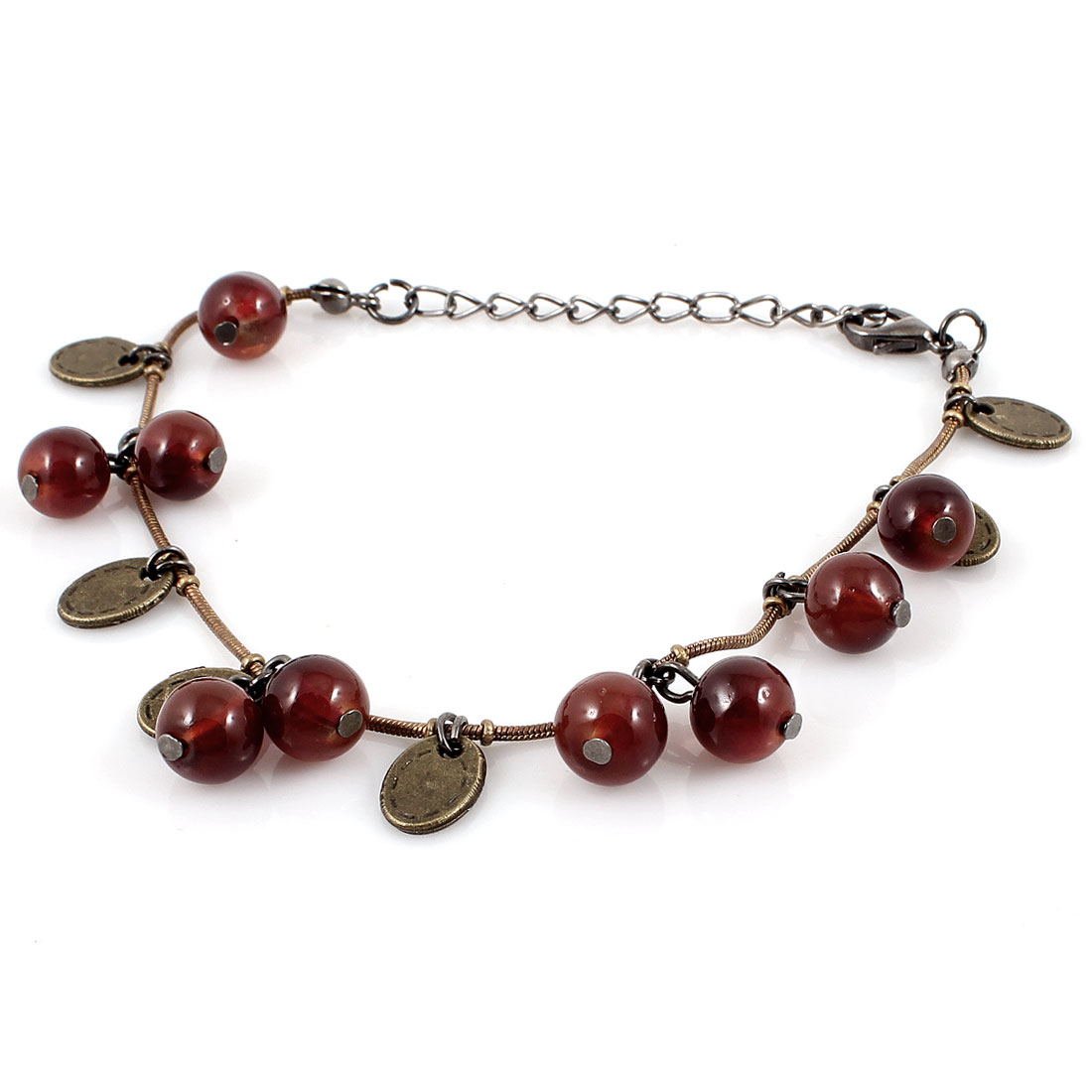 Winered Plastic Beads Lobster Clasp Closure Metal Chain Wrist Bracelet