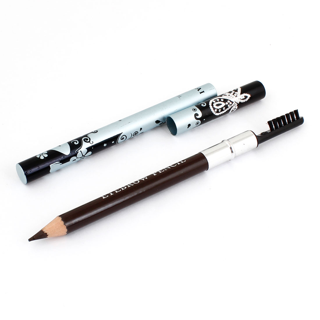 Black Swirl Flowers Pattern Eyebrow Pencil Brush 2#