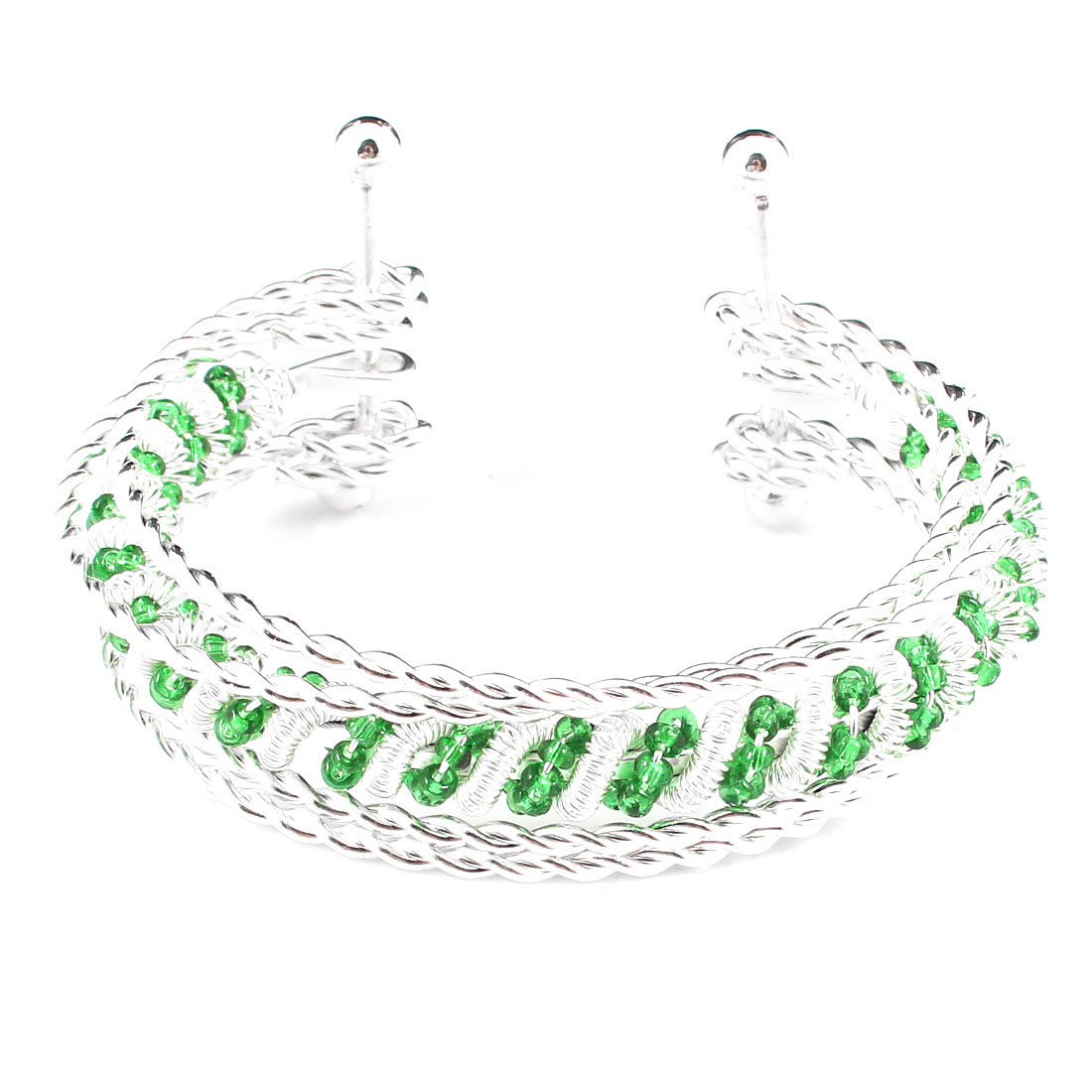 Lady Decor Green linked Beads Twisted Spring 5 Layer Metal Wrist Bracelet