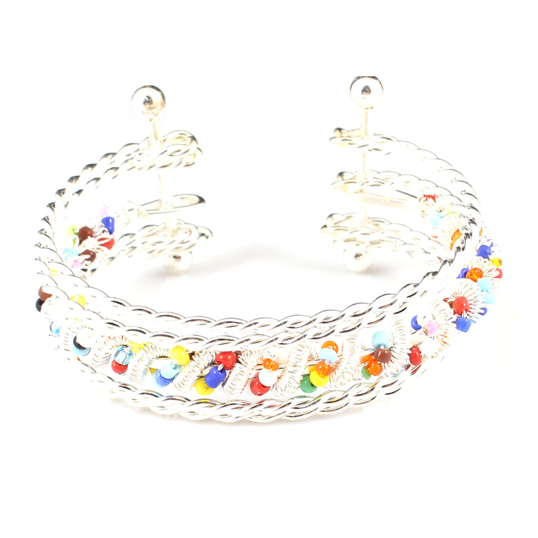 Multilayer Silver Tone Twisted Metal Wrist Bracelet w Colorful linked Beads
