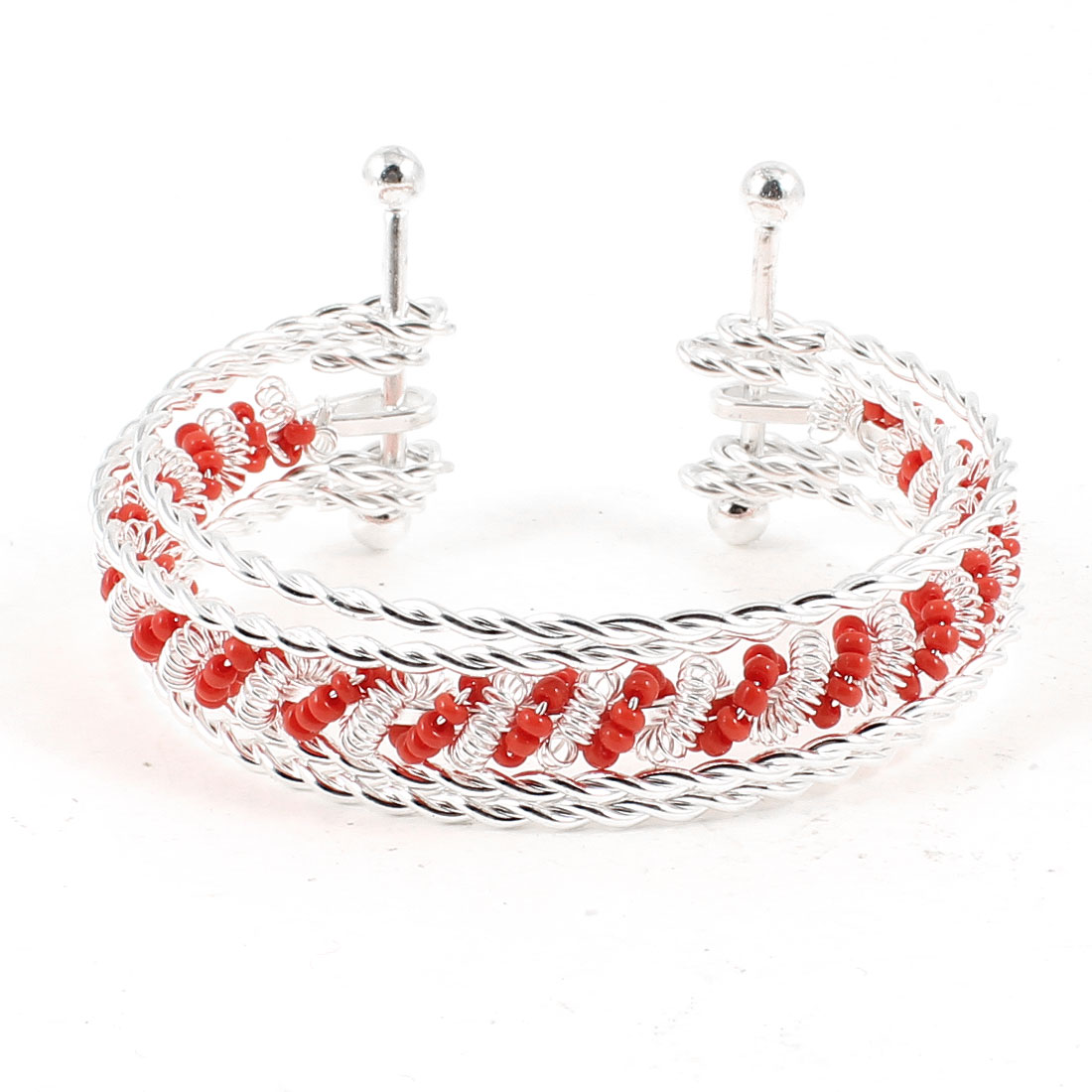 Lady Decor Multilayer Silver Tone Twisted Metal Wrist Bracelet w Red linked Beads