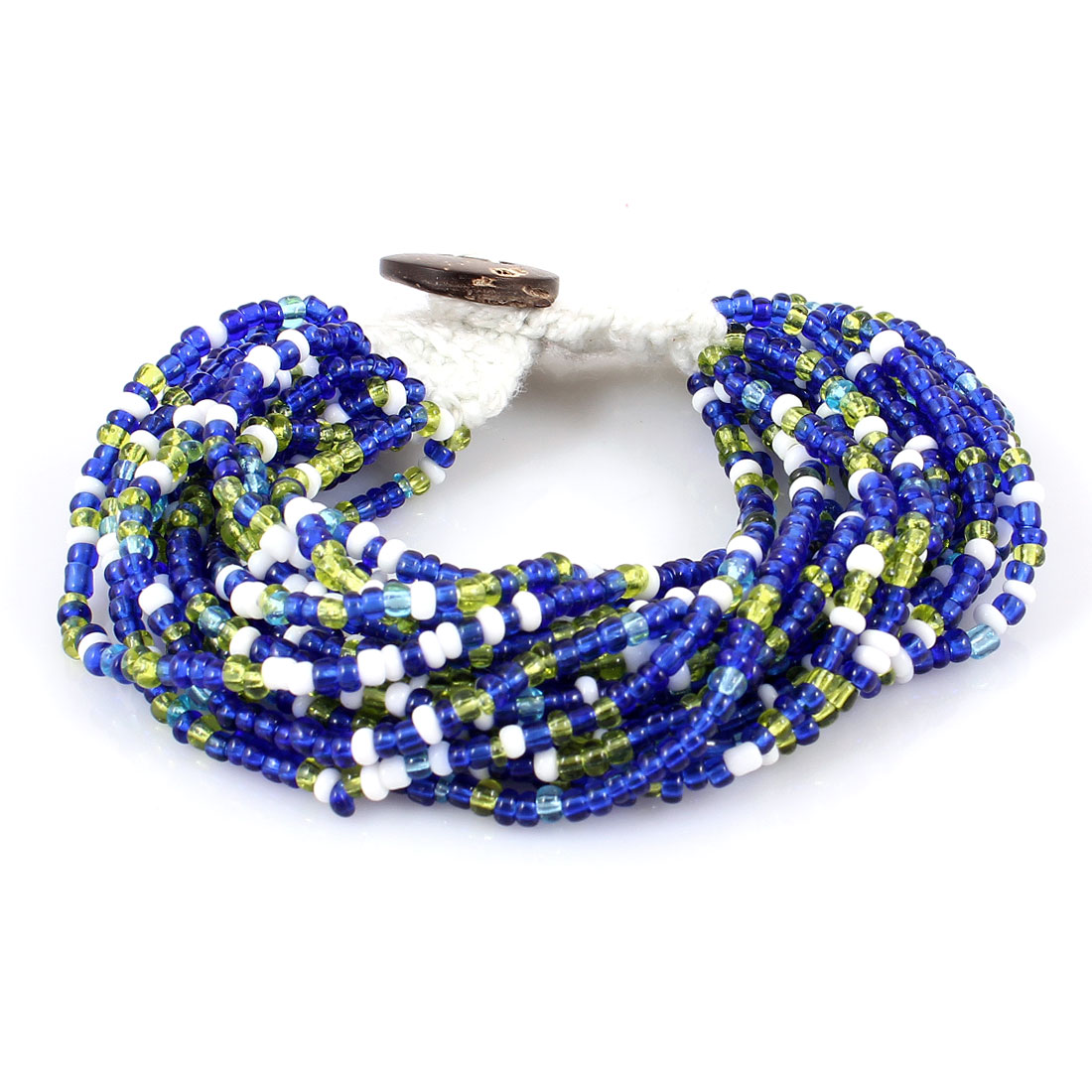 Multilayers String Braided Colorful Beads Button Closure Wrist Bracelet Bangle