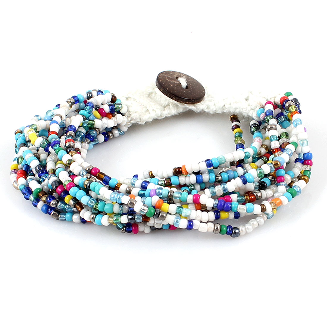 Multilayers String Braided Multicolor Beads Button Closure Wrist Bracelet Bangle