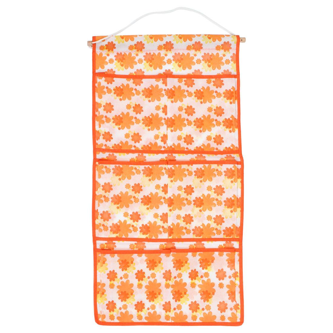 6 Compartment Floral Pattern Orange White Organizer Pocket Bag + Wooden Stick