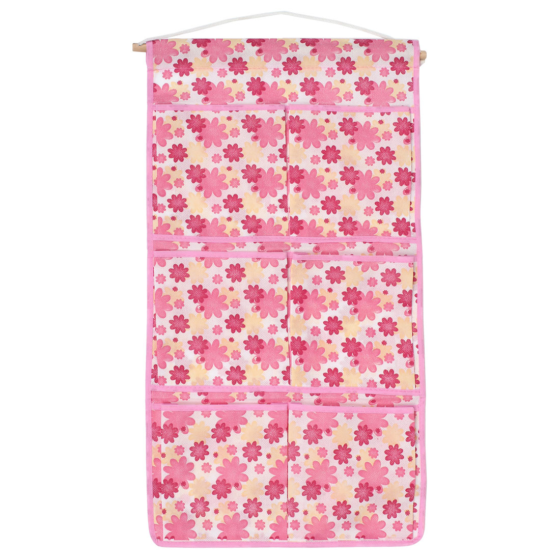 "Home 6 Compartments Flower Print Pink White Organizer Pocket Bag 23"" Length"