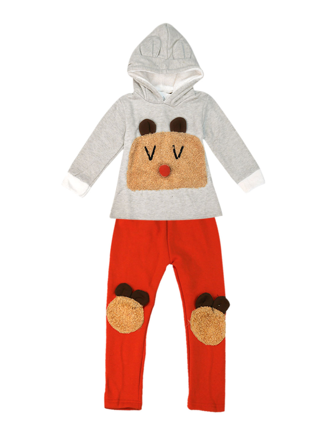 Girls Hooded Tops & Soft Pants 2 Pieces Light Gray Orange Red 4