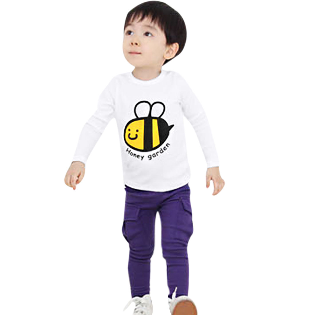 Kids Boys Pullover Design Bee Letters Pattern T-Shirt White 3T