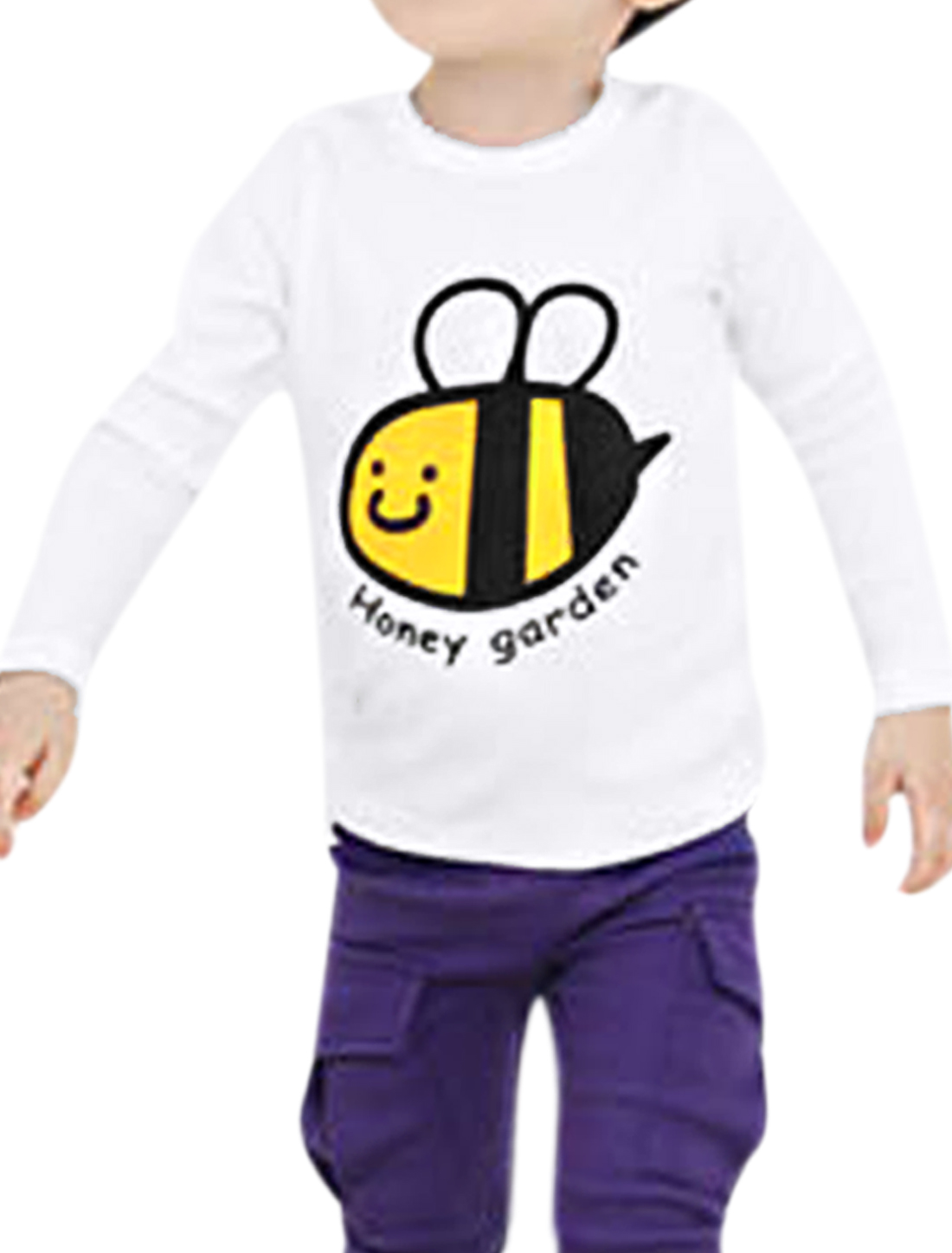 Korean Fashion White Long Sleeve Bee Letters Pattern Front Tops US Size 6 for Boys