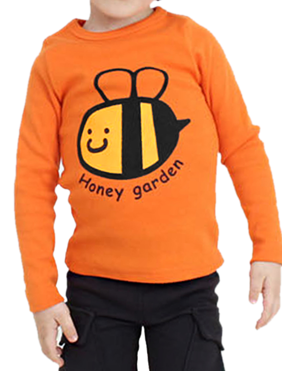 Kids Boys Autumn Round Neck Bee Letters Pattern Front T-Shirt Orange US Size 5