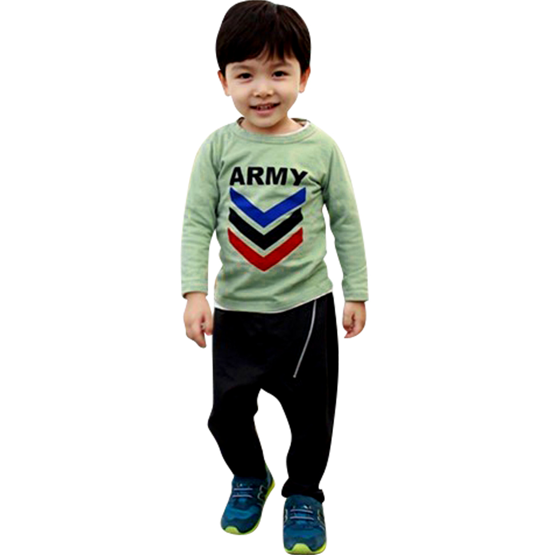 Boys Round Neck Green Letter Patterns Long Sleeve T-Shirt 4