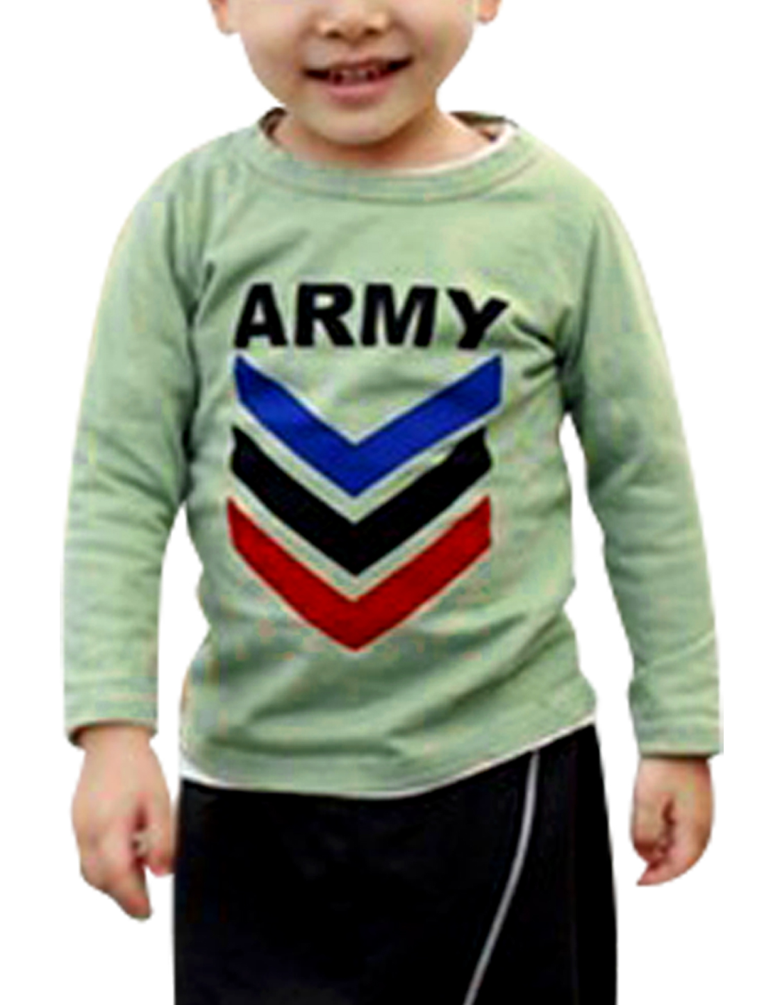 Boys Round Neck Green Letter Patterns Long Sleeve Leisure T-Shirt 7
