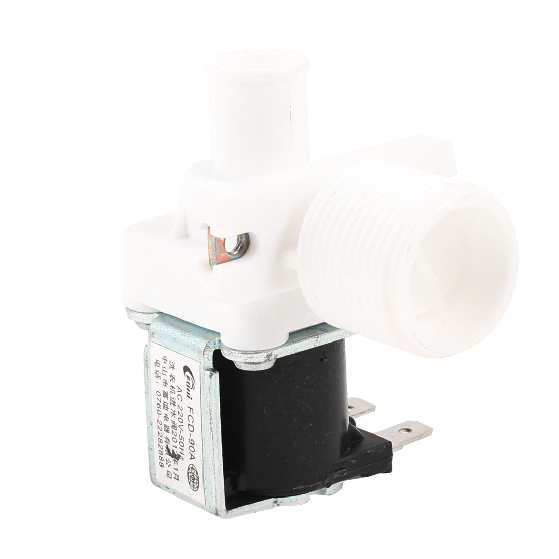AC 220V 50HZ 2 Terminal Washing Machine Solenoid Valve Black White