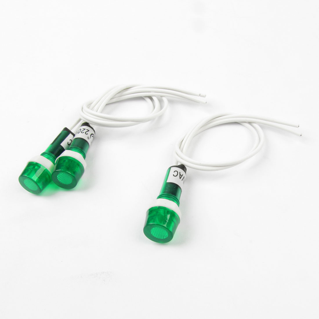 "AC 220V Green Water Heater Indicator Light w 8.1"" Long Cable 3Pcs"