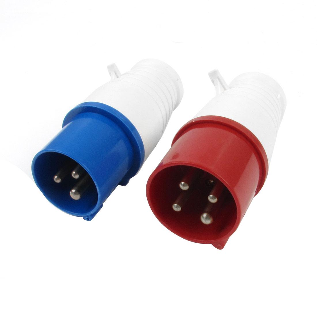 AC 220-250V 32A IP44 2P + E IEC309-2 Industrial Plug Conector White Blue 2 Pcs
