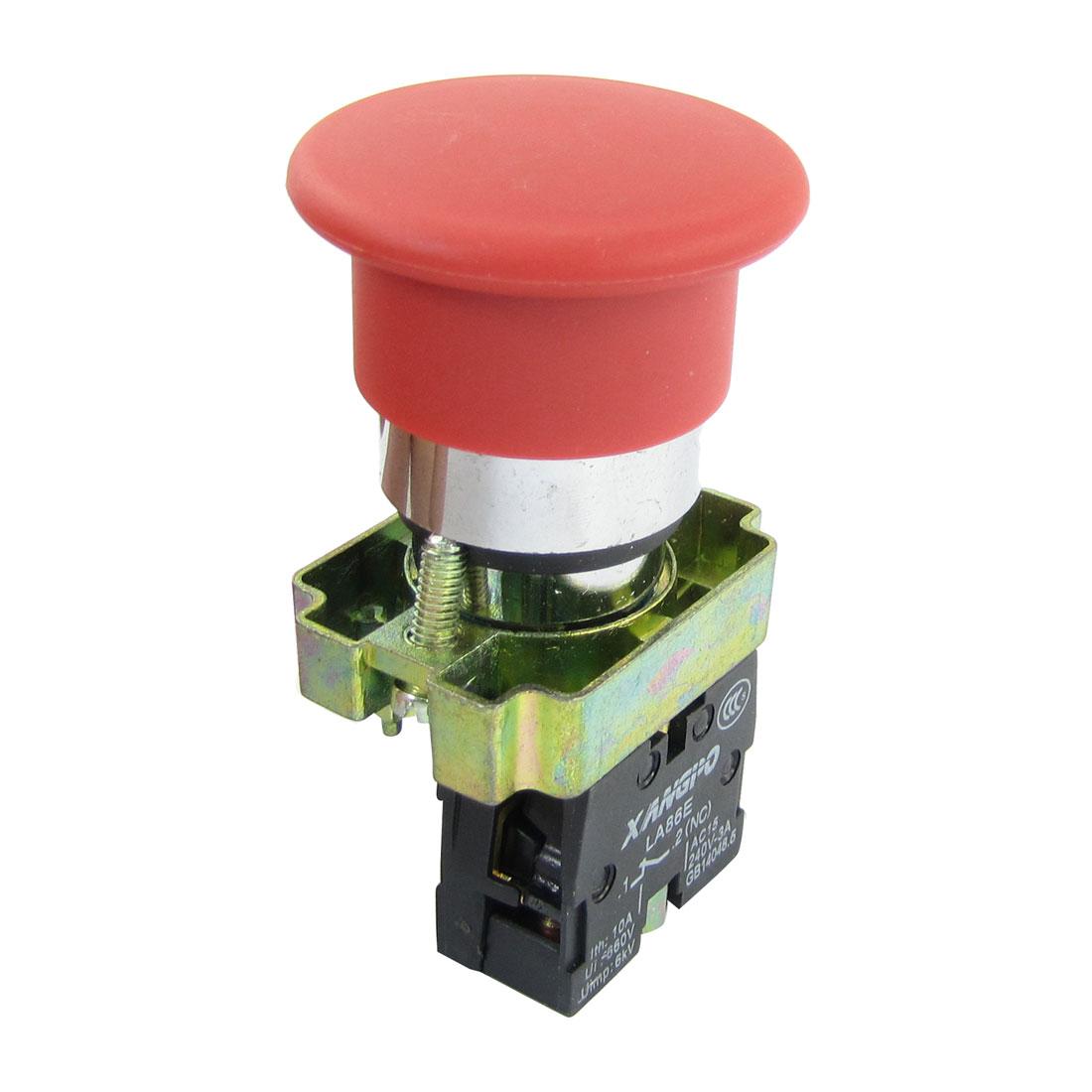AC 240V 3A SPST Panel Mounting Self Lock Red Mushroom Head Push Botton Switch