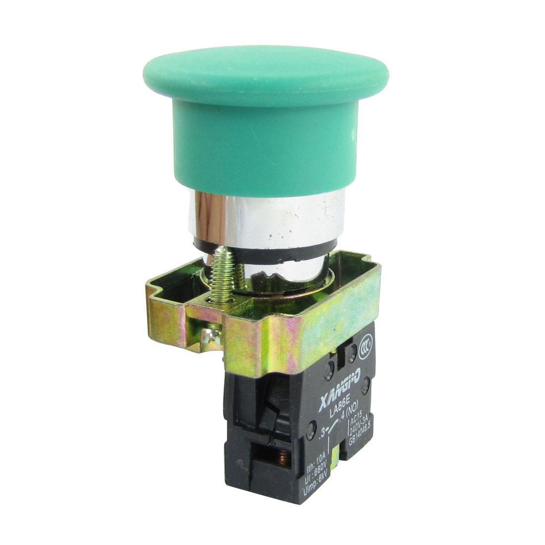 AC240V 3A SPST Latching Green Mushroomhead Emergency Push Botton Switch