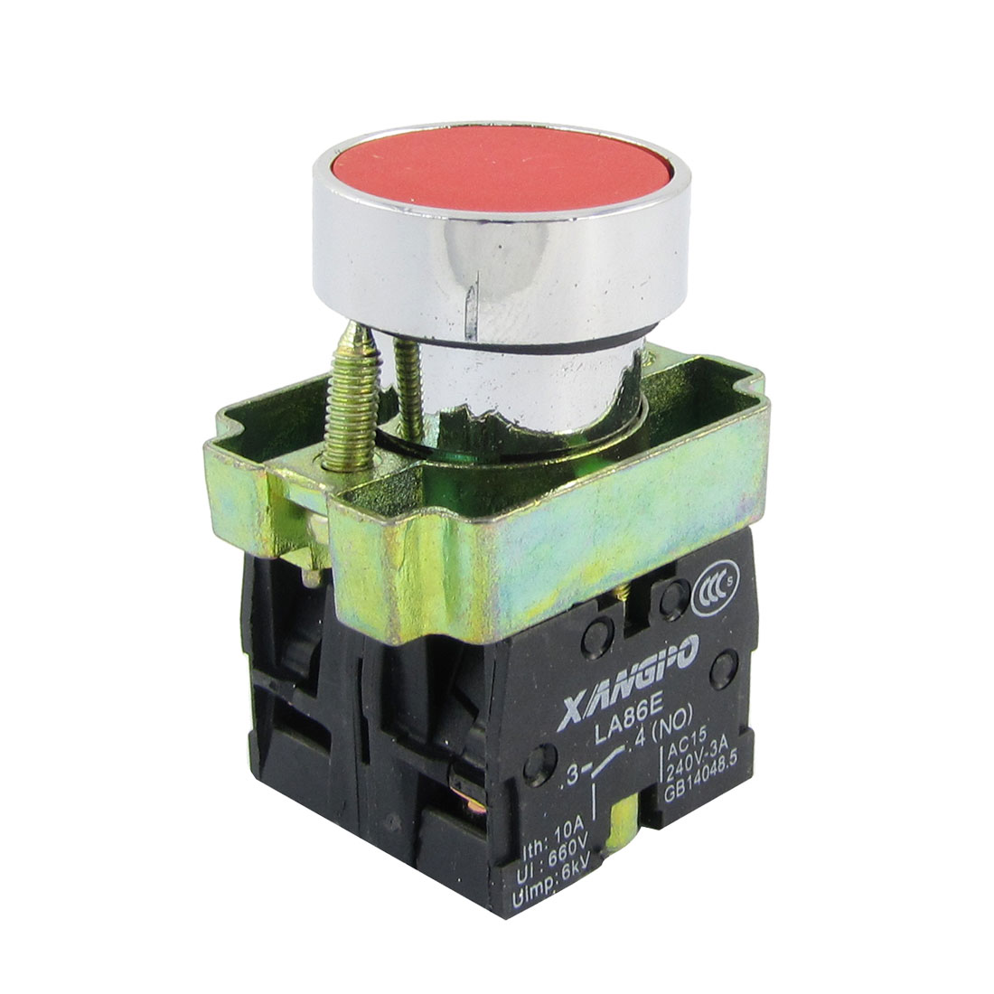 21mm Panel Mounted Momentary Red Flat Pushbutton Switch AC 240V 3A DPST