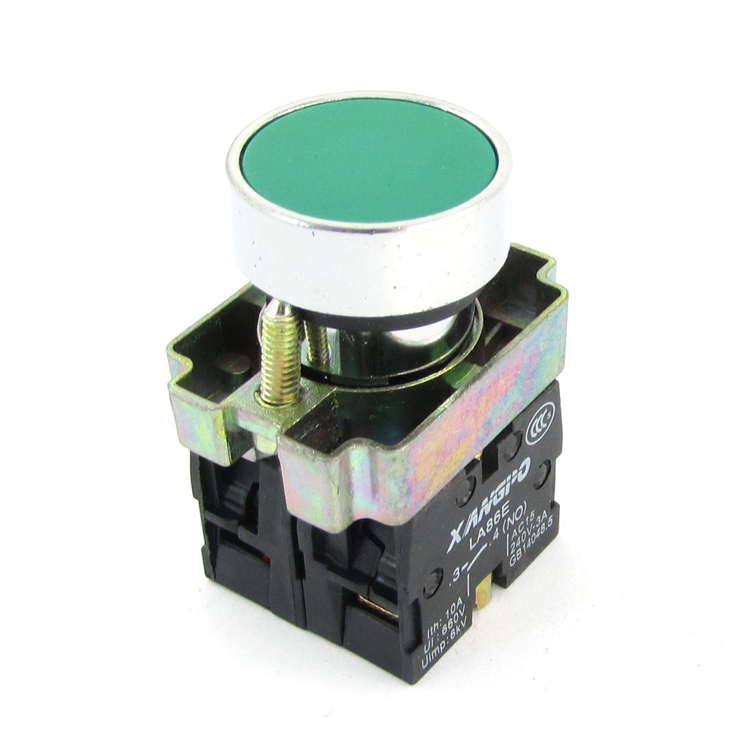 AC 240V 3A 1NO 1NC DPST Momentary Green Flat Round Push Button Switch